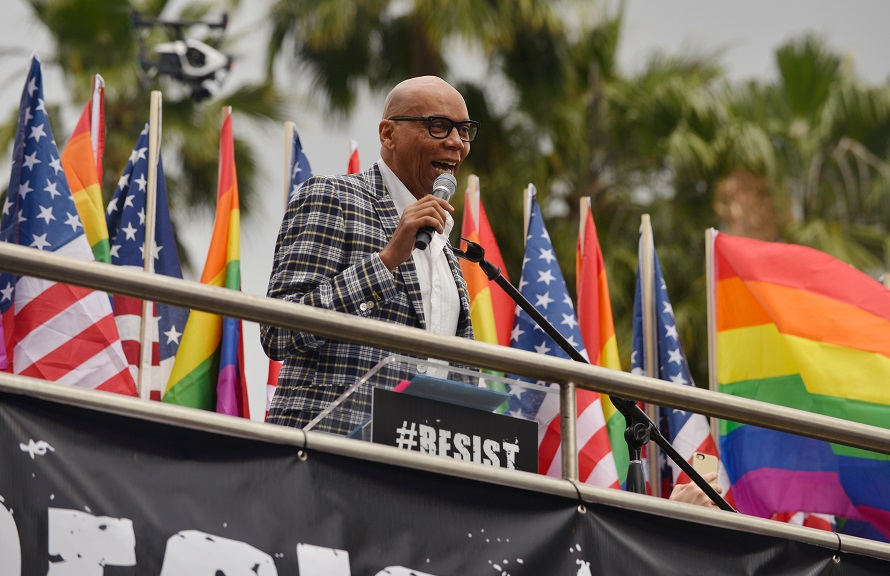 RuPaul speaks at the LA Pride Resist March