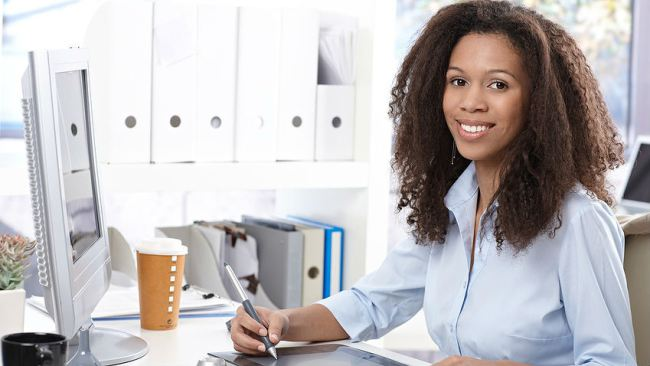 black woman at desk