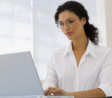 woman working on her lap top