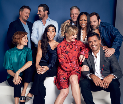 Riverdale Actors Lochlyn Munro, Skeet Ulrich, Martin Cummins, Robin Givens, Luke Perry, Nathalie Boltt, Marisol Nichols, Mädchen Amick, and Mark Consuelos of CW's 'Riverdale' pose for a portrait.