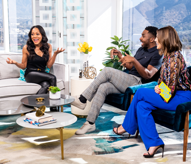 Robin Givens chats on set with Daily Pop Co-Hosts Justin Sylvester and Carissa Culiner