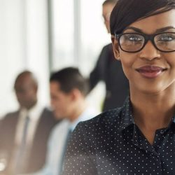 woman looking confident in a job interview