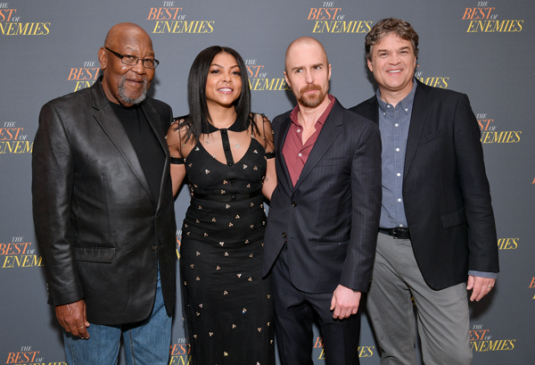Cast: (L-R) Bill Riddick, Taraji P. Henson, Sam Rockwell and Robin Bissell attend a photo call for 'The Best Of Enemies'. DIA DIPASUPIL/GETTY IMAGES FOR STXFILMS