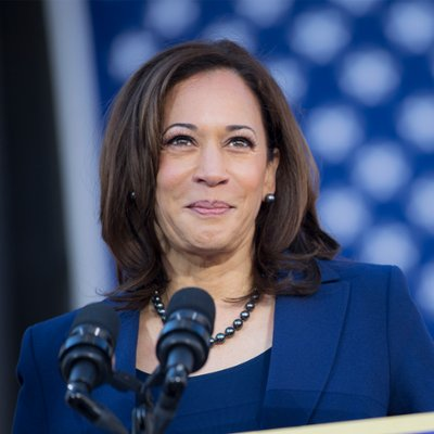 Kamala Harris speaking at podium