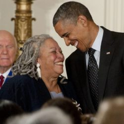Toni Morrison with Barack Obama smiling and laughing together