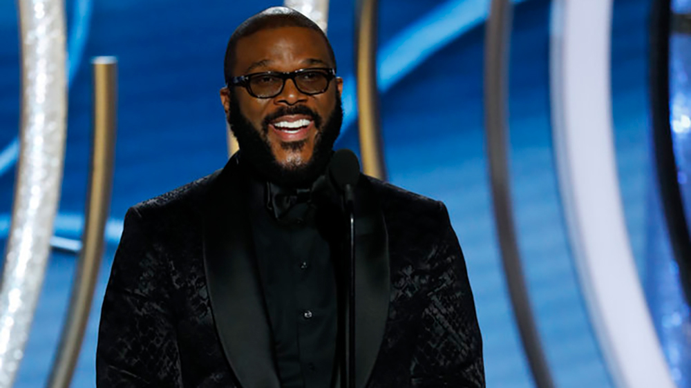 Tyler Perry on stage at the Golden Globes