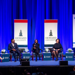 Howard University and TIAA panel on stage at the University event