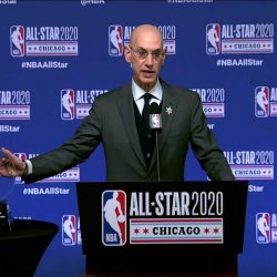 NBA Award All Star Game is shown on a table during announcement by NBA Commissioner Adam Silver