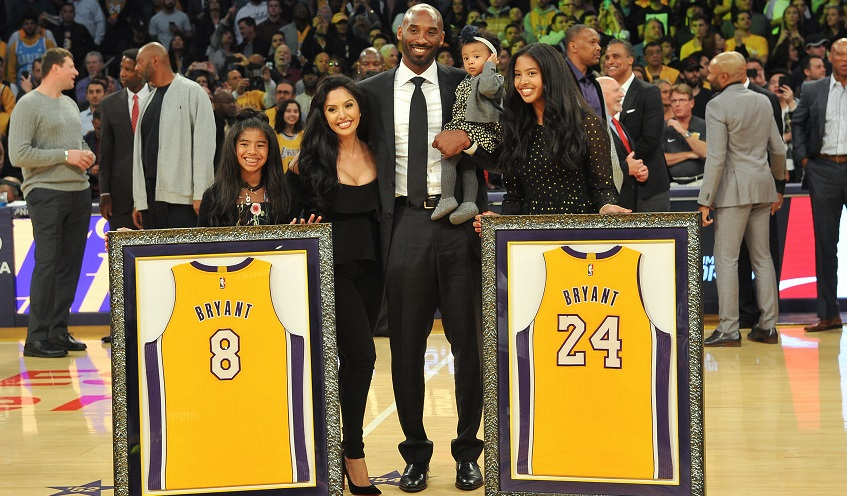 Kobe Bryant, wife Vanessa Bryant and daughters Gianna Maria Onore Bryant, Natalia Diamante Bryant and Bianka Bella Bryant attend Kobe's jersey retirement