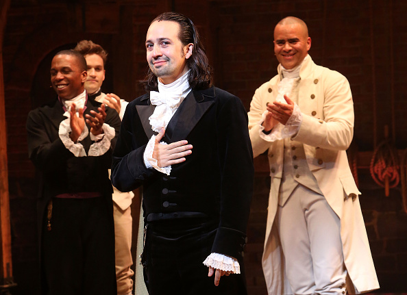 Lin Manuel Miranda on stage as Alexander Hamilton