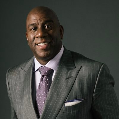 Magic Johnson in a business suit